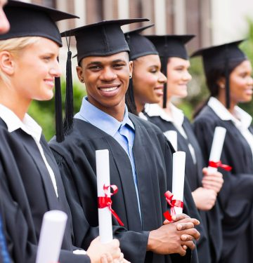 multiracial university students graduation